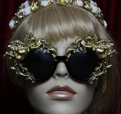 SOLD! 1908 Total Baroque Faced Gold Cherubs  Embellished Sunglasses Shades