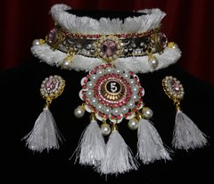 SOLD! 1797 Madam Coco Snow Queen Crystal Choker Necklace+ Earrimgs