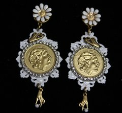 1939 Roman Hand Unusual White Filigree Flower Studs Earrings