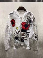 2178 Cotton 100% Poppy Daisy Applique White Bomber