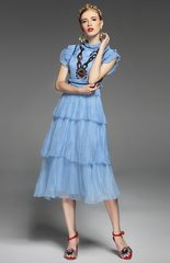 2445 Silky Touch Runway Sewuin Applique Ruffle Mid Cuff Dress