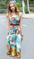2063 US4 French Kiss One Size Rainbow Print Designer Mid Cuff Dress