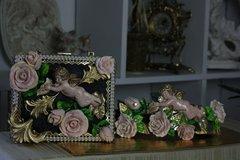 SOLD! 351  BELT Total Baroque Zibellini Baroque Chunky Rose Cherub Pearl Chained Belt M, L, XL