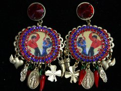 SOLD! 2160 Sicilian Inspiration Dancers Print Charms Chilly Studs Earrings
