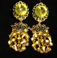 2515 Baroque Rococo Crystal Citrine Pineapple Earrings