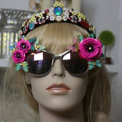 843  Jamaica Fuchsia Flower Butterfly Flower Embellished Sunglasses UV400