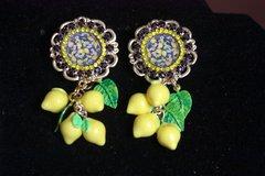 2460 Baroque Lemon Print Leaf Studs Earrings
