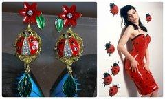1267 Designer Inspired Ladybug Enamel Earrings Studs
