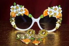 SOLD! 2729 Sided Baroque Orange Fruit Flower Enamel White Frame Sunglasses