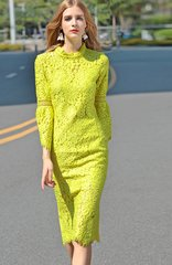 1679 Designer Inspired Bright Ywllow Lace Lady-Like Knee Length Dress S, M