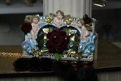 SOLD!369 COLLECTIBLE Total Baroque 3D Effect Cherub's Vine Velvet Rose Purse Handbag Clutch