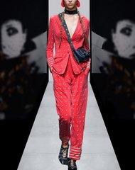 2194 High-End Designer Inspired Elephant Print Red Elegant Twinset