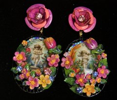 SOLD! 2217 Baroque HAnd Painted Flower Massive Studs Earrings