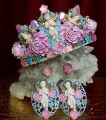 2310 Set Of Baroque Hand Painted Roses Beaded Cherubs Tiara+ Earrings