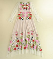 1745 Designer Inspired Embroidery Floral Sheer Off White Gown Maxi Dress