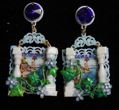 1982 sicilian Tile Print Column Crystal Studs Earrings