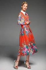 2492 Runway Designer Bright Red Floral Print Free Shape Dress