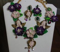 520  SET Total Baroque Hand Painted Cherub Purple Flower Unique Statement Necklace