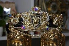 1322 Zibellini Medieval Gold Medusa Gorgon Pearl Chained Crystal Belt S, M, L, XL