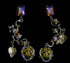 1920 Ladybug Yellow Crystal Grape Studs Earrings