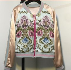 1503 Silky Touch Embroidery Victorian Print Blazer Bomber