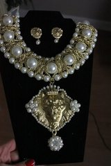 1394 SET Total Baroque HUGE Pearl Gold Lion Chained Unique Statement Necklace Earrings