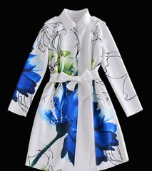 1076 Designer Inspired Elegant White Trench Blue Floral Print