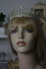 SOLD!427 Victorian Diana Rhinestone Metal Crown Tiara