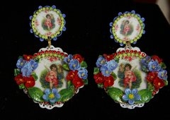 SOLD! 2214 Baroque Hand PAinted Flower Cherub Cupid Studs Earrings