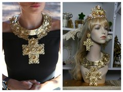 1475 Total Baroque Gold Filigree Huge Cross Necklace SET