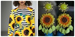 Summer 2016 Runway Hand Painted Orange Yellow Sunflower Massive Dangle Studs Earrings