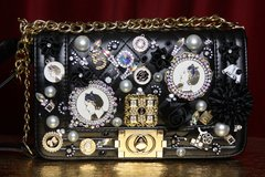 SOLD! 2240 Madam Coco Embellished Brooches Handbag