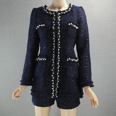 2154 Madam Coco Elegant Navu Blue Pearl Embellished Blazer