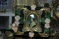 SOLD!  446 Victorian Vintage Style Rhinestone Vivid Flower Sigar Box Handbag Trunk