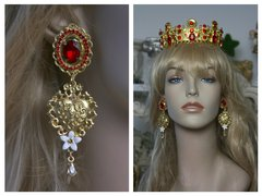 1504 Baroque Red Crystal Heart Flower Studs Earrings