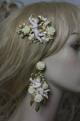 665  Barrette Baroque Cherub Roses Filigree Crystal