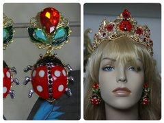 SOLD! 1406 Designer Inspired Baroque Ladybug Crystal Earrings Studs