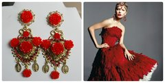 SOLD! 343 Baroque Red Roses Heart Virgin Mary Coin Rose Stunning Massive Studs Earrings