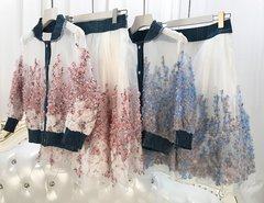 2329 2 Colors Designer Inspired 3D Fluffy Flowers Twinset