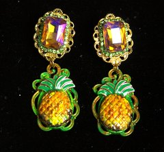 2237 Designer Inspired Crystal Hand Painted Pineaaple Studs