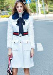 1343 Designer Red Belted Button Winter  Fur Coat