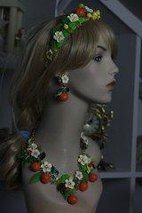 SOLD!95 Spring 2016 Orange Fruit Flower Set Necklace Plus Earrings