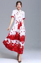 2000 100% Silk Rose Petal Print Mid Cuff Dress