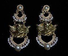 1923 Pearl Baroque Cherub Stunning Earrings