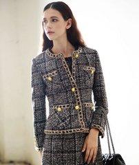 1537 Madam Coco Tweed Chain Lady-Like Jacket Blazer