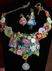 SOLD! 2053 Set Of Alice In Wonderland  Earrings+ Necklace