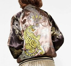 1592 Tiger Print Silky Asian Style Bomber