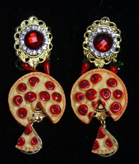 SOLD! 2309 Baroque Pizza Slice Red Crystal Chilly Studs Earrings