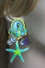 2188 Nautica Seahorse Cameo Hand Painted Studs Earrings