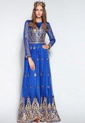 1094 Designer Golden Embroidery Cobalt Blue Maxi Amazing Dress